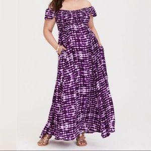 TORRID Purple Tie Dye Smocked Maxi Dress SZ 2